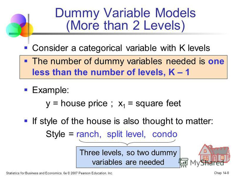 Statistics for Business and Economics, 6e © 2007 Pearson Education, Inc. Chap 14-8 Dummy Variable Models (More than 2 Levels) Consider a categorical variable with K levels The number of dummy variables needed is one less than the number of levels, K