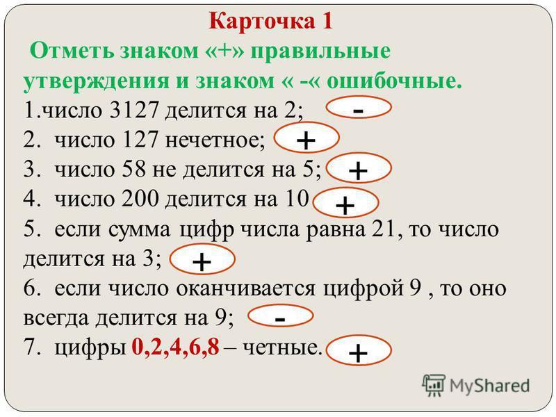 Карточка 1 Отметь знаком «+» правильные утверждения и знаком « -« ошибочные. 1. число 3127 делится на 2; 2. число 127 нечетное; 3. число 58 не делится на 5; 4. число 200 делится на 10 5. если сумма цифр числа равна 21, то число делится на 3; 6. если