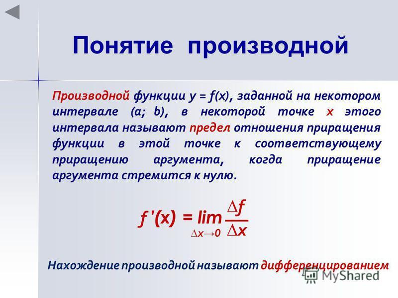 Понятие производной Производной функции у = f(x), заданной на некотором интервале (a; b), в некоторой точке х этого интервала называют предел отношения приращения функции в этой точке к соответствующему приращению аргумента, когда приращение аргумент