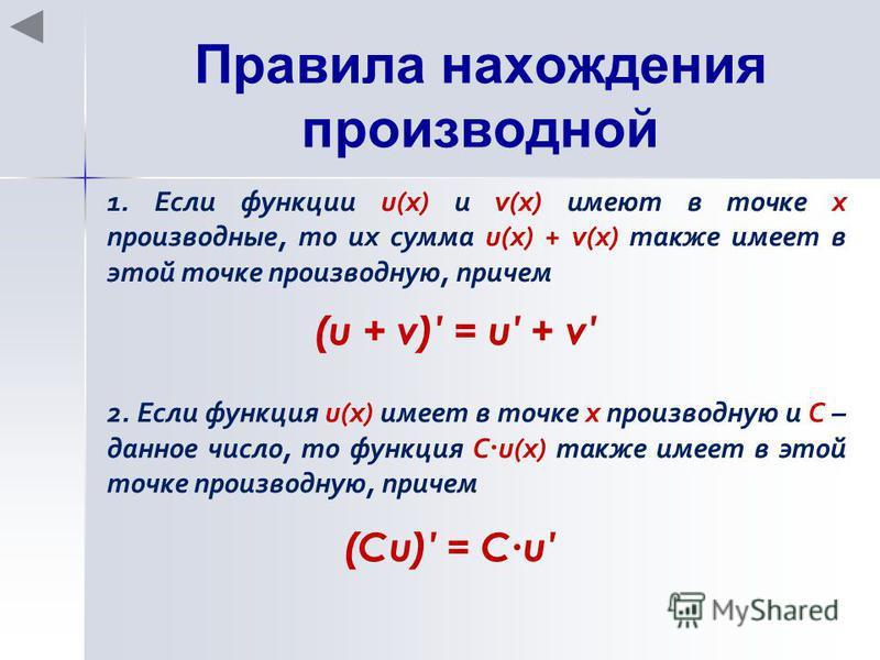 Правила нахождения производной 1. Если функции u(x) и v(x) имеют в точке х производные, то их сумма u(x) + v(x) также имеет в этой точке производную, причем (u + v) = u + v 2. Если функция u(x) имеет в точке х производную и С – данное число, то функц