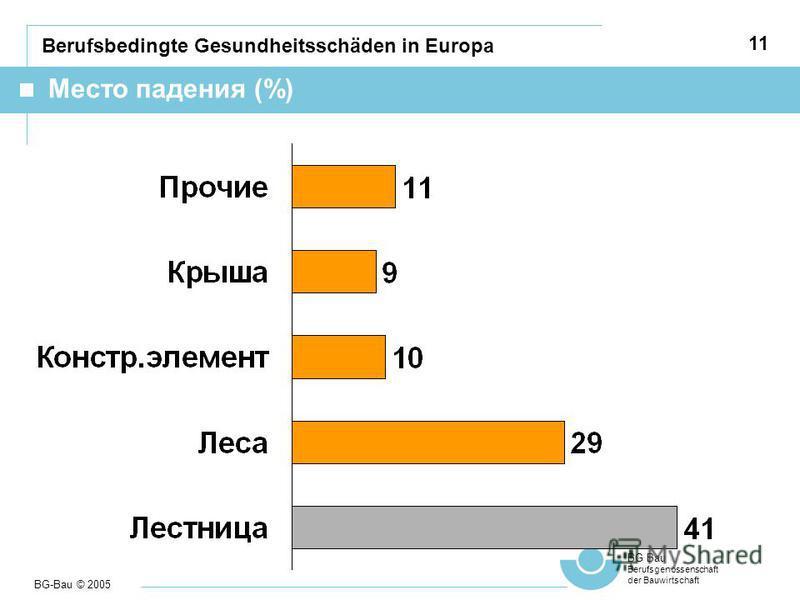 BG-Bau © 2005 BG Bau Berufsgenossenschaft der Bauwirtschaft 11 Berufsbedingte Gesundheitsschäden in Europa Место падения (%)