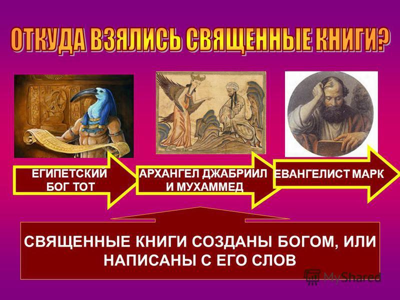 СВЯЩЕННЫЕ КНИГИ СОЗДАНЫ БОГОМ, ИЛИ НАПИСАНЫ С ЕГО СЛОВ ЕГИПЕТСКИЙ БОГ ТОТ АРХАНГЕЛ ДЖАБРИИЛ И МУХАММЕД ЕВАНГЕЛИСТ МАРК