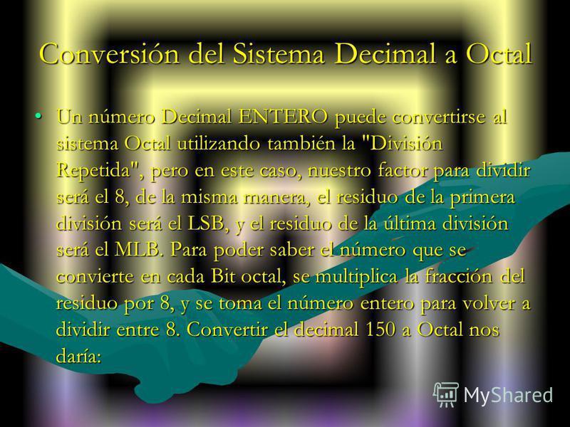 Conversión del Sistema Decimal a Octal Un número Decimal ENTERO puede convertirse al sistema Octal utilizando también la