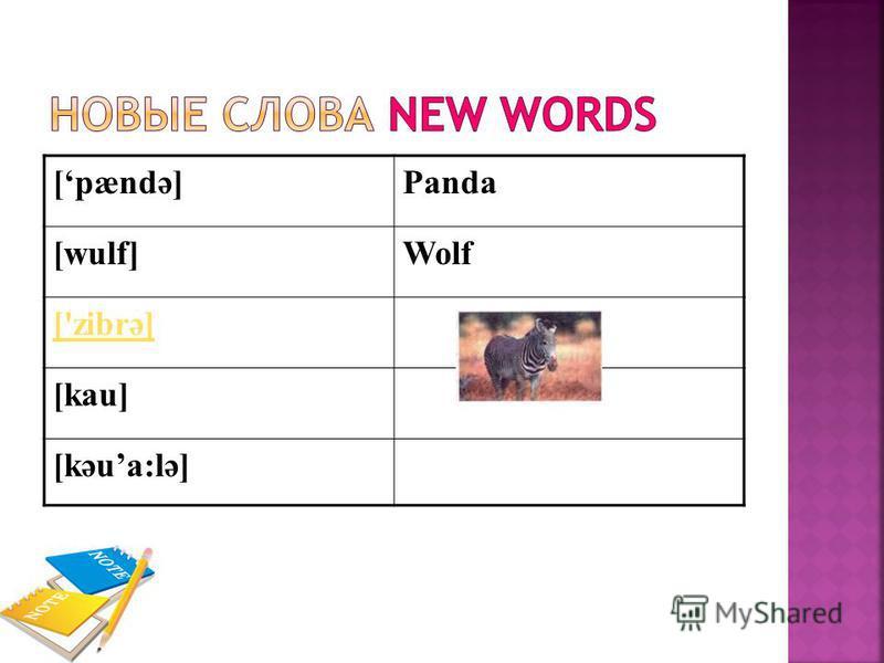 [pændә]Panda [wulf]Wolf ['zibrә] [kau] [kәua:lә]