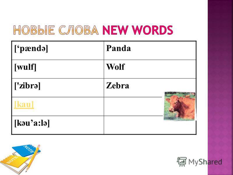 [pændә]Panda [wulf]Wolf ['zibrә]Zebra [kau] [kәua:lә]