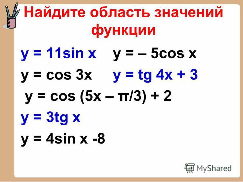 Найдите область значений функции y = 11sin x y = – 5cos x y = cos 3x y = tg 4x + 3 y = cos (5x – π/3) + 2 y = 3tg x y = 4sin x -8