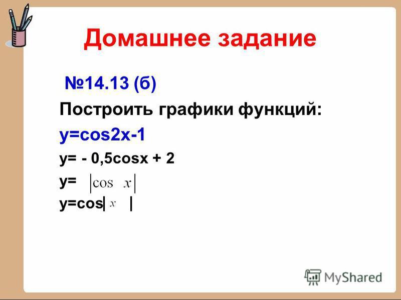Домашнее задание 14.13 (б) Построить графики функций: y=cos2x-1 y= - 0,5cosx + 2 y= y=cos