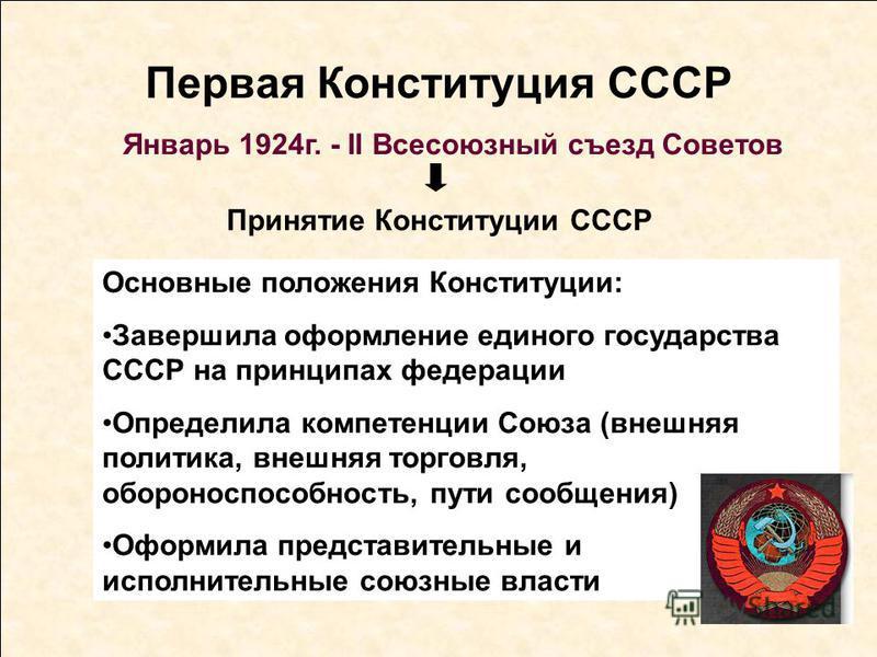 Первая Конституция СССР Январь 1924 г. - II Всесоюзный съезд Советов Принятие Конституции СССР Основные положения Конституции: Завершила оформление единого государства СССР на принципах федерации Определила компетенции Союза (внешняя политика, внешня