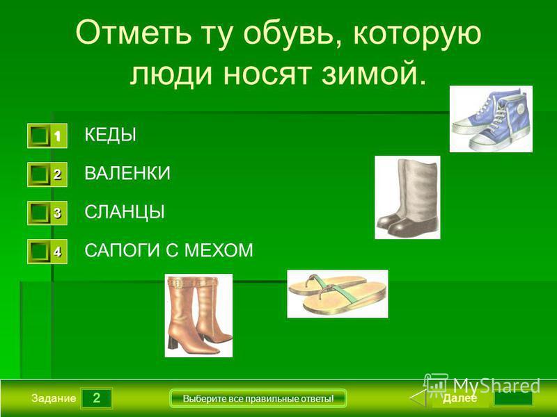 2 Задание Выберите все правильные ответы! Отметь ту обувь, которую люди носят зимой. КЕДЫ ВАЛЕНКИ СЛАНЦЫ САПОГИ С МЕХОМ Далее 1111 0 2222 0 3333 0 4444 0