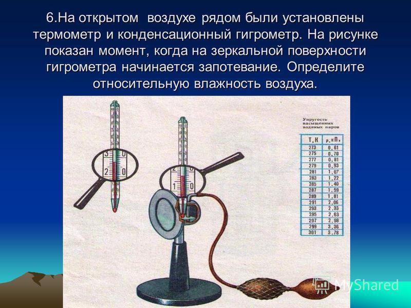 6. На открытом воздухе рядом были установлены термометр и конденсационный гигрометр. На рисунке показан момент, когда на зеркальной поверхности гигрометра начинается запотевание. Определите относительную влажность воздуха.