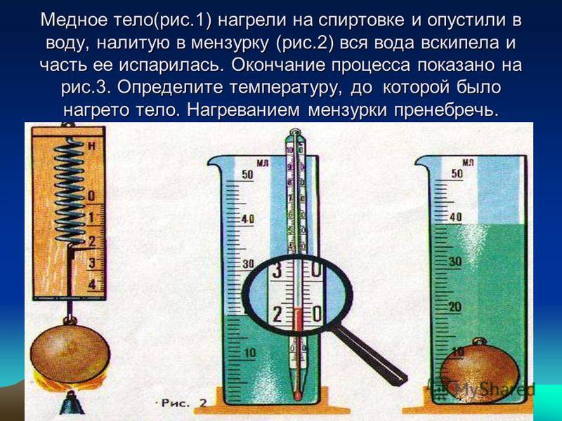 Медное тело(рис.1) нагрели на спиртовке и опустили в воду, налитую в мензурку (рис.2) вся вода вскипела и часть ее испарилась. Окончание процесса показано на рис.3. Определите температуру, до которой было нагрето тело. Нагреванием мензурки пренебречь