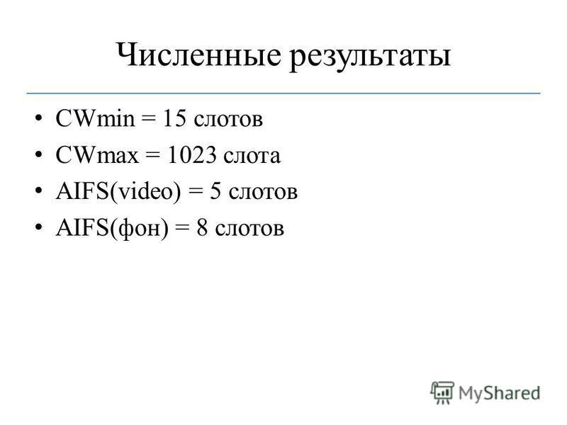 Численные результаты CWmin = 15 слотов CWmax = 1023 слота AIFS(video) = 5 слотов AIFS(фон) = 8 слотов