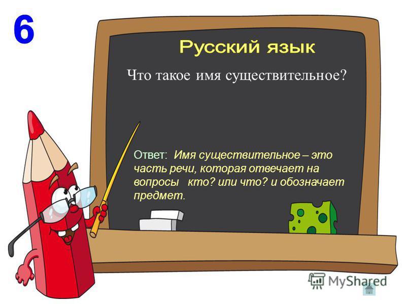 Что такое имя существительное? Ответ: Имя существительное – это часть речи, которая отвечает на вопросы кто? или что? и обозначает предмет.