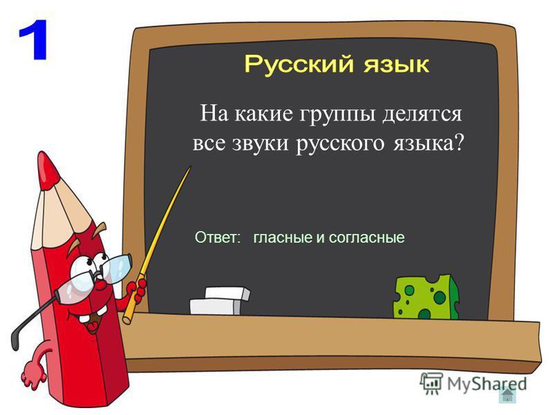 На какие группы делятся все звуки русского языка? Ответ: гласные и согласные