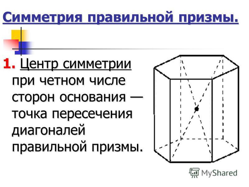 Симметрия правильной призмы. 1. Центр симметрии при четном числе сторон основания точка пересечения диагоналей правильной призмы.