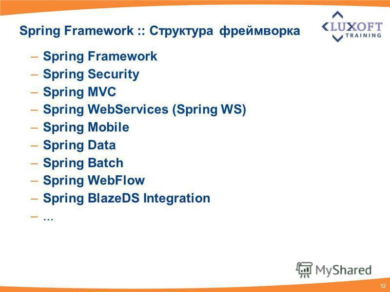 12 Spring Framework :: Структура фреймворка –Spring Framework –Spring Security –Spring MVC –Spring WebServices (Spring WS) –Spring Mobile –Spring Data –Spring Batch –Spring WebFlow –Spring BlazeDS Integration –...