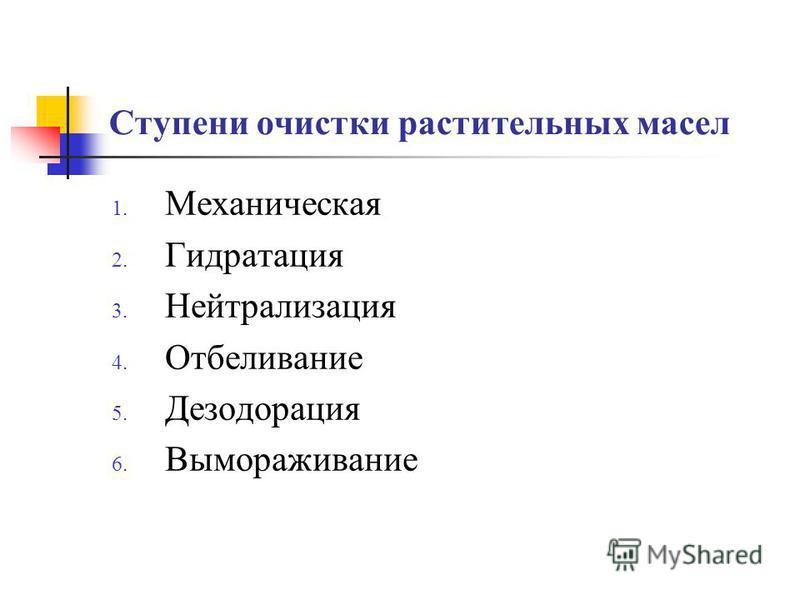 Ступени очистки растительных масел 1. Механическая 2. Гидратация 3. Нейтрализация 4. Отбеливание 5. Дезодорация 6. Вымораживание