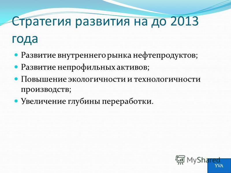 Стратегия развития на до 2013 года Развитие внутреннего рынка нефтепродуктов; Развитие непрофильных активов; Повышение экологичности и технологичности производств; Увеличение глубины переработки. YVA