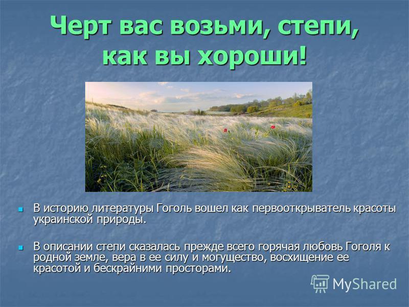 Черт вас возьми, степи, как вы хороши! В историю литературы Гоголь вошел как первооткрыватель красоты украинской природы. В историю литературы Гоголь вошел как первооткрыватель красоты украинской природы. В описании степи сказалась прежде всего горяч