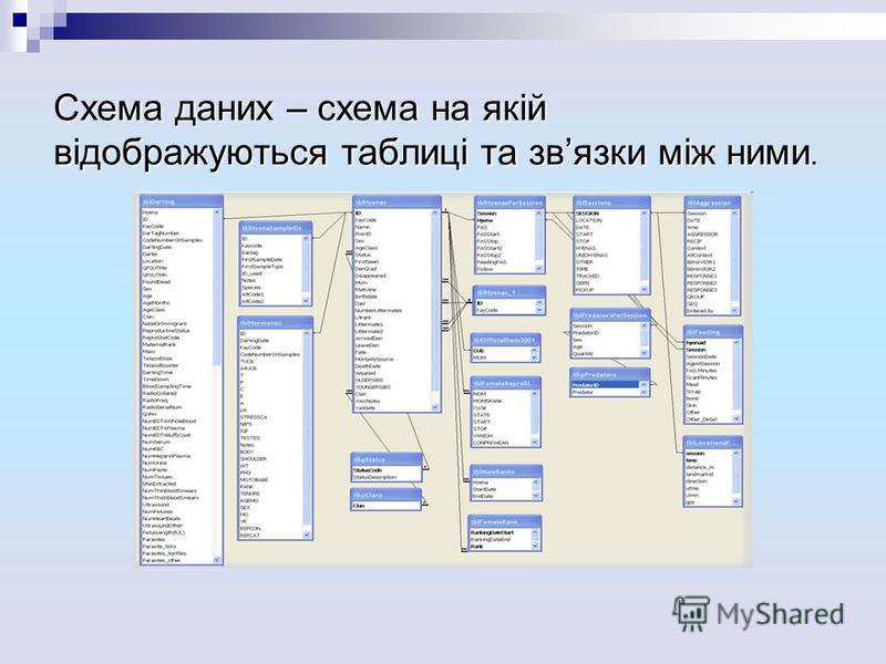 Схема даних – схема на якій відображуються таблиці та звязки між ними.