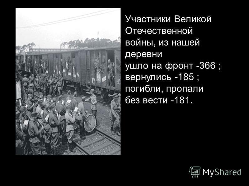 Участники Великой Отечественной войны, из нашей деревни ушло на фронт -366 ; вернулись -185 ; погибли, пропали без вести -181.