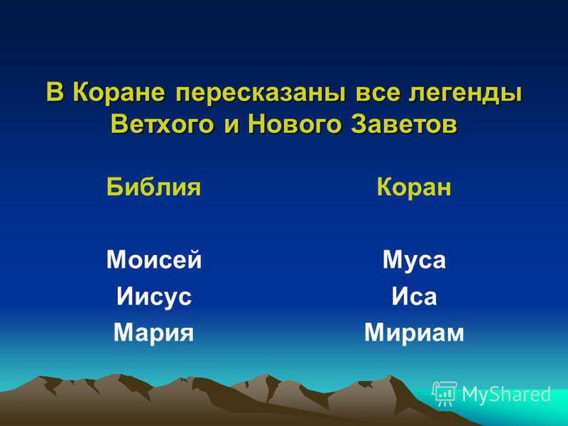 В Коране пересказаны все легенды Ветхого и Нового Заветов Библия Моисей Иисус Мария Коран Муса Иса Мириам