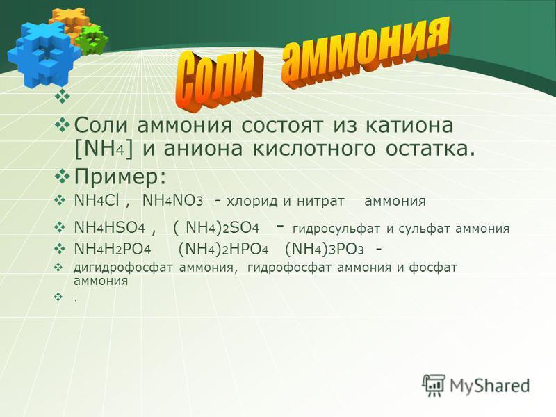 Соли аммония состоят из катиона [NH 4 ] и аниона кислотного остатка. Пример: NH 4 Cl, NH 4 NO 3 - хлорид и нитрат аммония NH 4 HSO 4, ( NH 4 ) 2 SO 4 - гидросульфат и сульфат аммония NH 4 H 2 PO 4 (NH 4 ) 2 HPO 4 (NH 4 ) 3 PO 3 - дигидрофосфат аммони