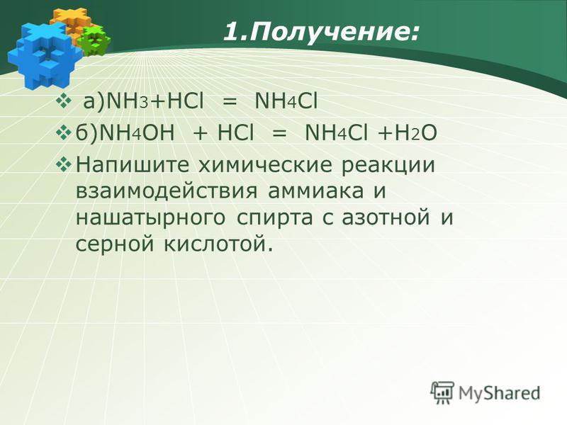 1.Получение: а)NH 3 +HCl = NH 4 Cl б)NH 4 OH + HCl = NH 4 Cl +H 2 O Напишите химические реакции взаимодействия аммиака и нашатырного спирта с азотной и серной кислотой.