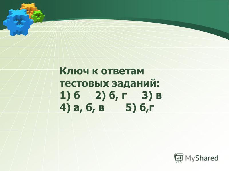 Ключ к ответам тестовых заданий: 1) б 2) б, г 3) в 4) а, б, в 5) б,г