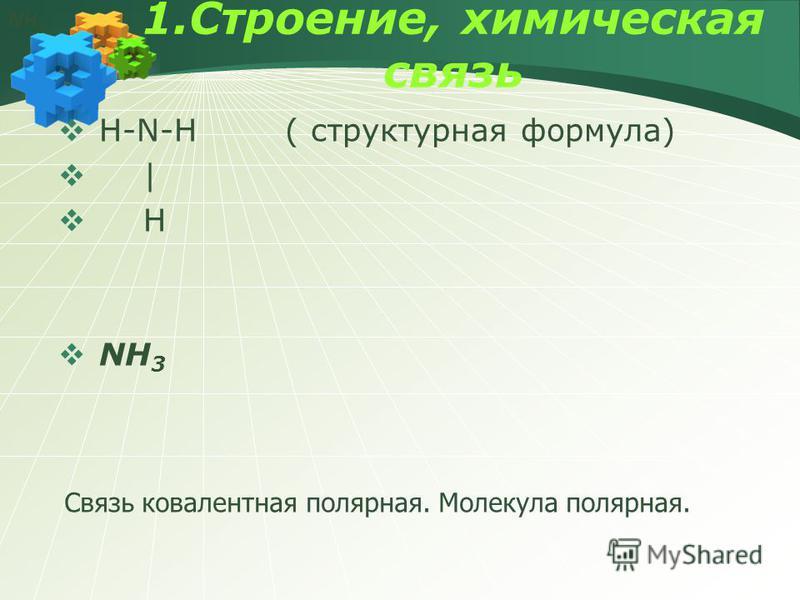 1.Строение, химическая связь H-N-H ( структурная формула) | H NH 3 Связь ковалентная полярная. Молекула полярная. NH 3