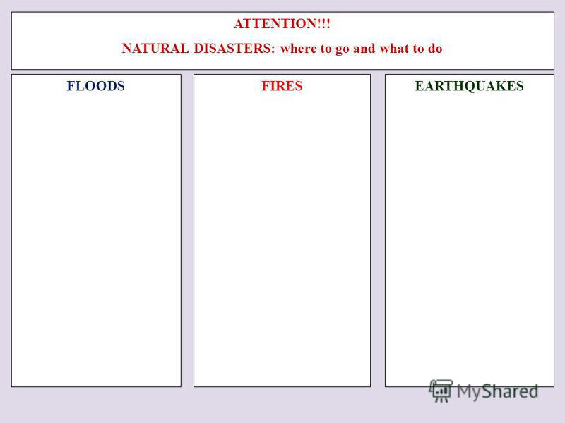 ATTENTION!!! NATURAL DISASTERS: where to go and what to do FLOODSFIRES EARTHQUAKES