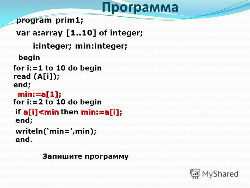 Программа program prim1; var a:array [1..10] of integer; i:integer; min:integer; for i:=1 to 10 do begin read (A[i]); end; min:=a[1]; for i:=2 to 10 do begin a[i]<min min:=a[i]; if a[i]<min then min:=a[i]; end; writeln(min=,min); end. Запишите програ