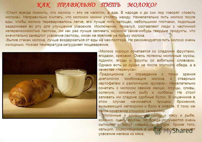 -Стоит всегда помнить, что молоко – это не напиток, а еда. В народе и до сих пор говорят «поесть молока». Неправильно считать, что молоком можно утолять жажду. Нежелательно пить молоко после еды, чтобы молоко переваривалось легче, его лучше пить нато