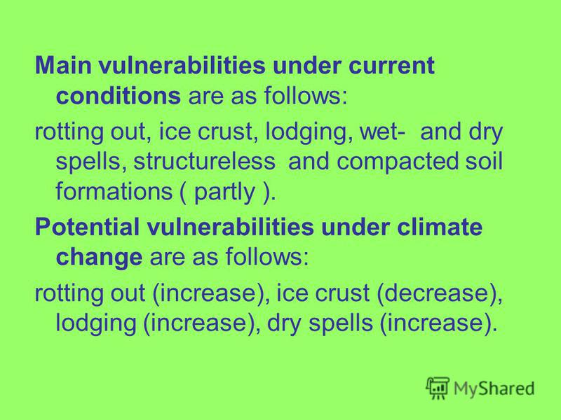 Main vulnerabilities under current conditions are as follows: rotting out, ice crust, lodging, wet- and dry spells, structureless and compacted soil formations ( partly ). Potential vulnerabilities under climate change are as follows: rotting out (in