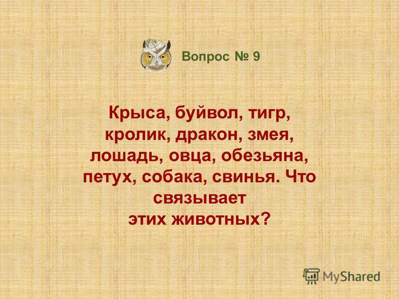 Крыса, буйвол, тигр, кролик, дракон, змея, лошадь, овца, обезьяна, петух, собака, свинья. Что связывает этих животных? Вопрос 9