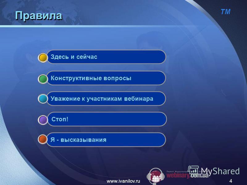 ТМ www.ivanilov.ru4 Правила Я - высказывания Стоп! Уважение к участникам вебинара Конструктивные вопросы Здесь и сейчас