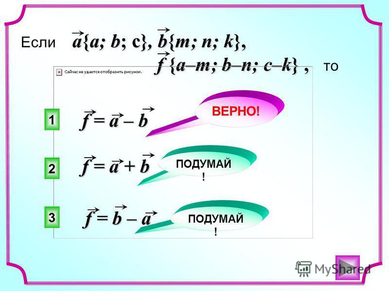 a{a; b; c}, b{m; n; k}, Если a{a; b; c}, b{m; n; k}, f {a–m; b–n; c–k}, f {a–m; b–n; c–k}, то f = b – a f = a – b f = a + b 1 2 3 ВЕРНО! ПОДУМАЙ !
