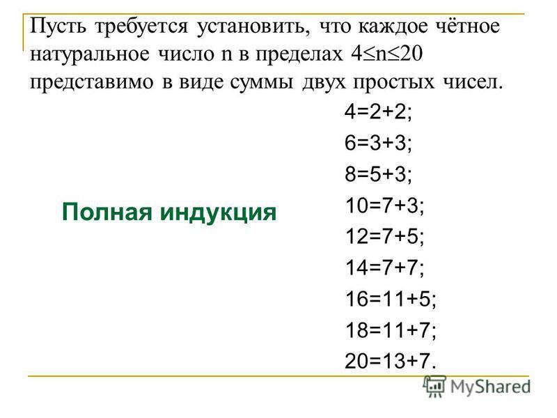Пусть требуется установить, что каждое чётное натуральное число n в пределах 4 n 20 представимо в виде суммы двух простых чисел. 4=2+2; 6=3+3; 8=5+3; 10=7+3; 12=7+5; 14=7+7; 16=11+5; 18=11+7; 20=13+7. Полная индукция