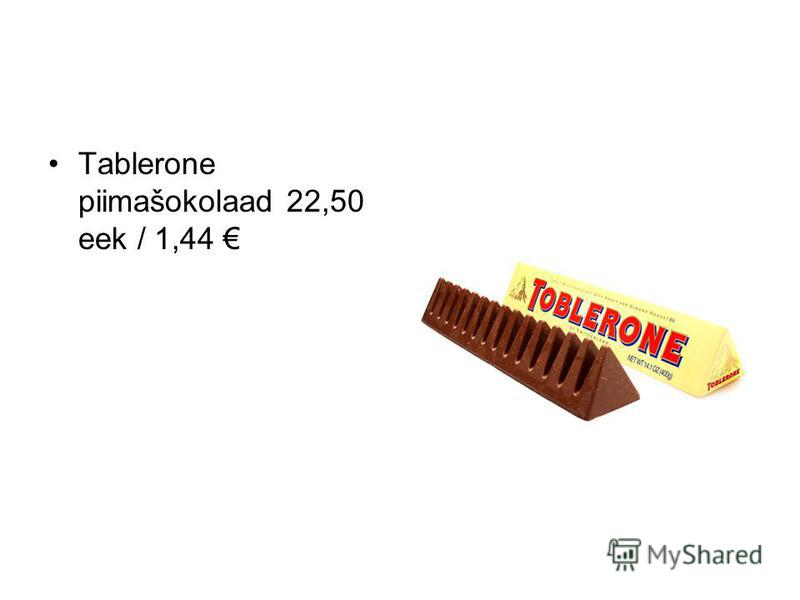 Tablerone piimašokolaad 22,50 eek / 1,44