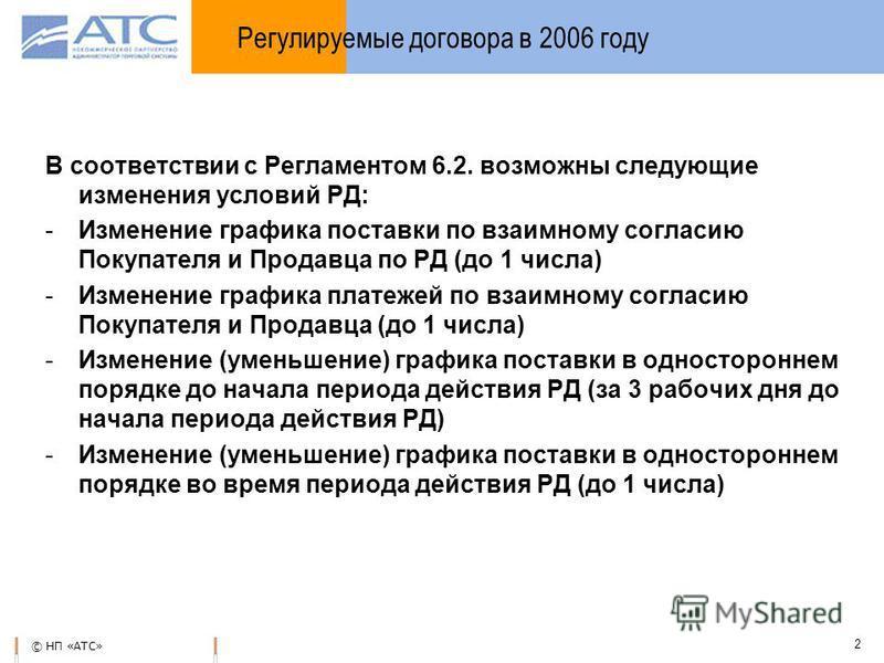 © НП «АТС» 2 В соответствии с Регламентом 6.2. возможны следующие изменения условий РД: -Изменение графика поставки по взаимному согласию Покупателя и Продавца по РД (до 1 числа) -Изменение графика платежей по взаимному согласию Покупателя и Продавца