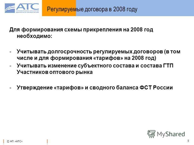 © НП «АТС» 5 Для формирования схемы прикрепления на 2008 год необходимо: -Учитывать долгосрочность регулируемых договоров (в том числе и для формирования «тарифов» на 2008 год) -Учитывать изменение субъектного состава и состава ГТП Участников оптовог