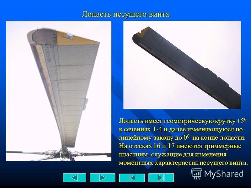 Основные геометрические данные несущего винта - диаметр винта – 21,3 м; - диаметр винта – 21,3 м; - форма лопасти в плане – прямоугольная; - форма лопасти в плане – прямоугольная; - хорда лопасти – 0,52 м; - хорда лопасти – 0,52 м; - ометаемая площад