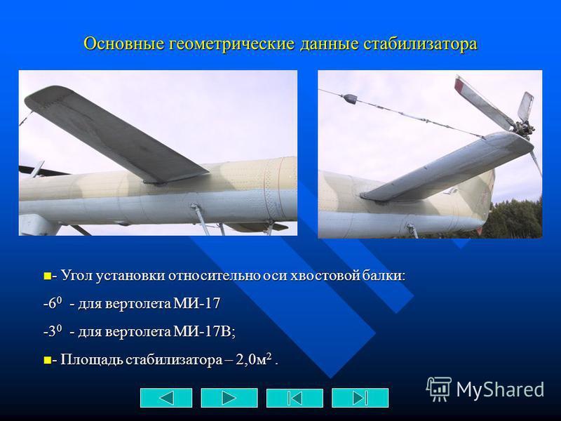 4. Стабилизатор Стабилизатор Стабилизатор неуправляемый в полете, предназначен для улучшения характеристик продольной устойчивости вертолета
