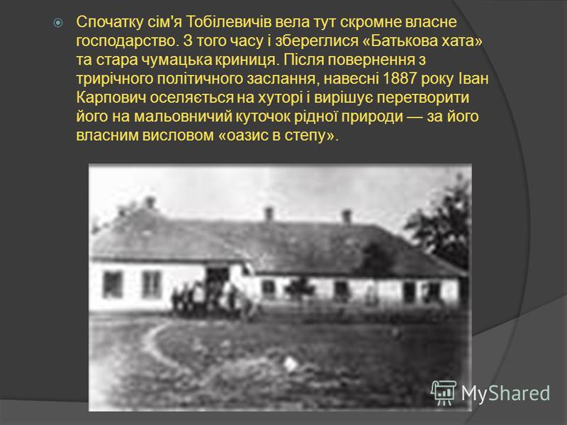 Садибу закладено в 1871 р. батьком драматурга К.Тобілевічем і названо іменем його дружини Н.Тарковської. Згодом І.Карпенко-Карий обирає садибу постійним місцем проживання.