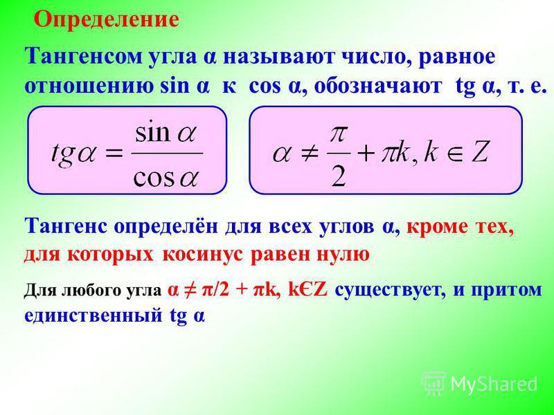 Определение Тангенс определён для всех углов α, кроме тех, для которых косинус равен нулю Тангенсом угла α называют число, равное отношению sin α к cos α, обозначают tg α, т. е. Для любого угла α π/2 + πk, kЄZ существует, и притом единственный tg α