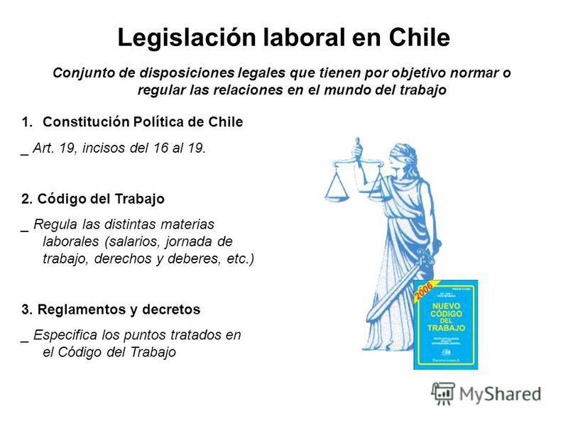 Legislación laboral en Chile Conjunto de disposiciones legales que tienen por objetivo normar o regular las relaciones en el mundo del trabajo 1.Constitución Política de Chile _ Art. 19, incisos del 16 al 19. 2. Código del Trabajo _ Regula las distin