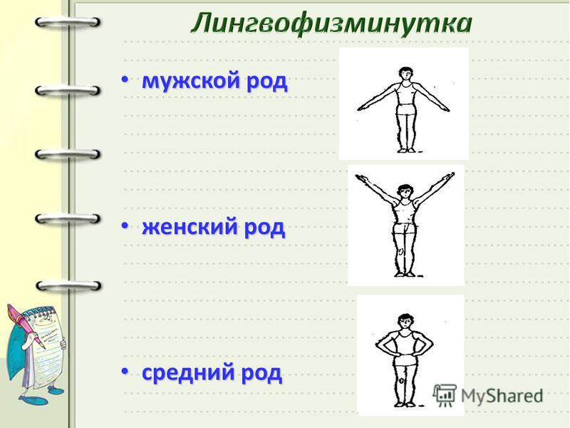 мужской род мужской род женский род женский род средний род средний род