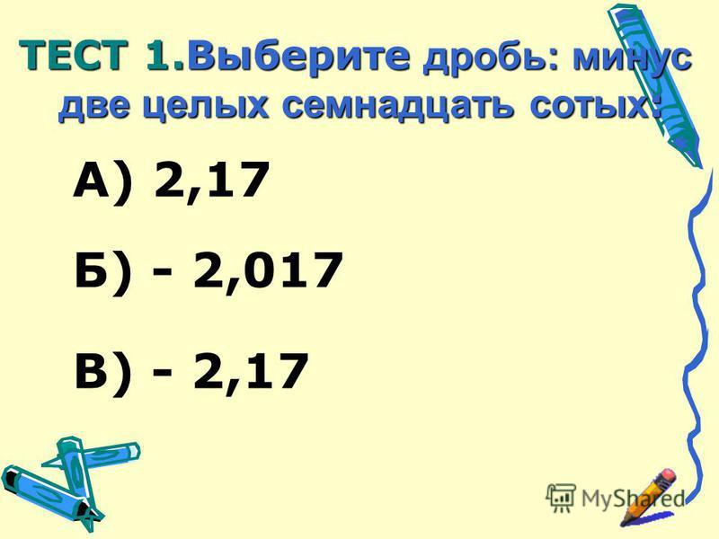А) 2,17 В) - 2,17 Б) - 2,017 ТЕСТ 1. Выберите дробь: минус две целых семнадцать сотых :