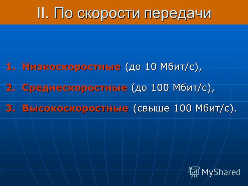 II.По скорости передачи 1. Низкоскоростные (до 10 Мбит/с), 2. Среднескоростные (до 100 Мбит/с), 3. Высокоскоростные (свыше 100 Мбит/с).