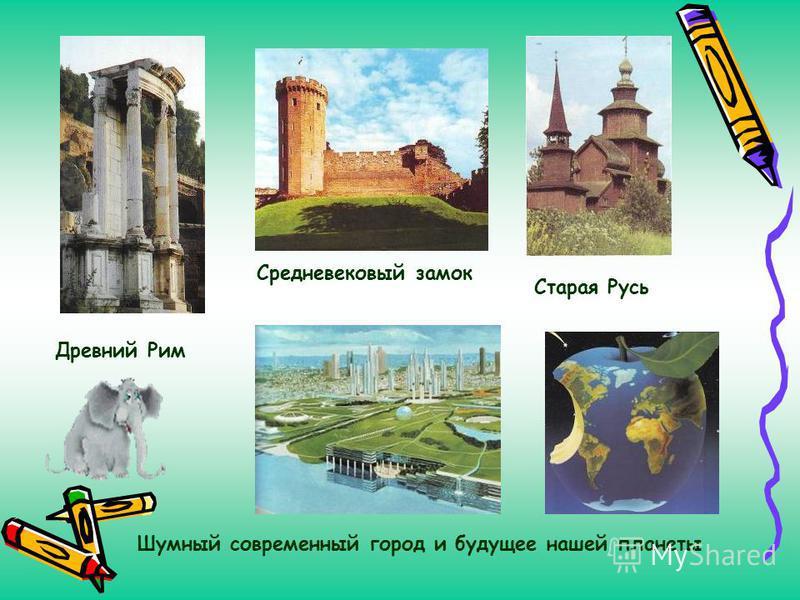 Древний Рим Старая Русь Средневековый замок Шумный современный город и будущее нашей планеты